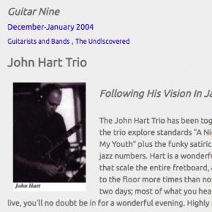 John Hart Trio: Following His Vision In Jazz (Dec 2004)